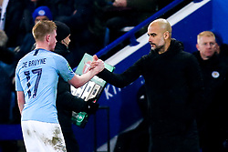Kevin De Bruyne of Manchester City shakes hands with Manchester City manager Pep Guardiola - Mandatory by-line: Robbie Stephenson/JMP - 18/12/2018 - FOOTBALL - King Power Stadium - Leicester, England - Leicester City v Manchester City - Carabao Cup Quarter Finals