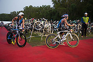 Clayton Fettell (AUS) and Courtney Atkinson (AUS), June 8, 2014 - TRIATHLON : Ironman Cairns 70.3 / Cairns Airport Adventure Festival, Palm Cove - Captain Cook Highway - Cairns Esplanade, Cairns, Queensland, Australia. Credit: Lucas Wroe