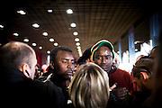 La delegazione dei migranti attende il ricevimento con Laura Boldrini e Piero Fassino. Torino, 10-04-'13.