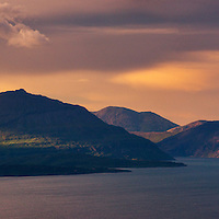 The Skye Cuillin and Loch Scavaig from Barkeval, Isle of Rum