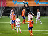 1. divisjon fotball 2018: Aalesund - Levanger (4-0). Levangers keeper Julian Faye Lund redder avslutningen til Sondre Brunstad Fet (nr 17) i kampen i 1. divisjon i fotball mellom Aalesund og Levanger på Color Line Stadion.