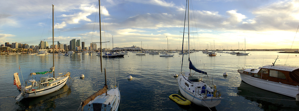 Panorama, Sailboats and Downtown San Diego, California, United States of America
