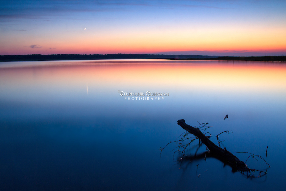 A colorful August sunset at Saylorville Lake in Iowa