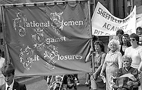 National Women Against Pit Closures banner. NUM Centenary Demonstration and Gala, Barnsley.