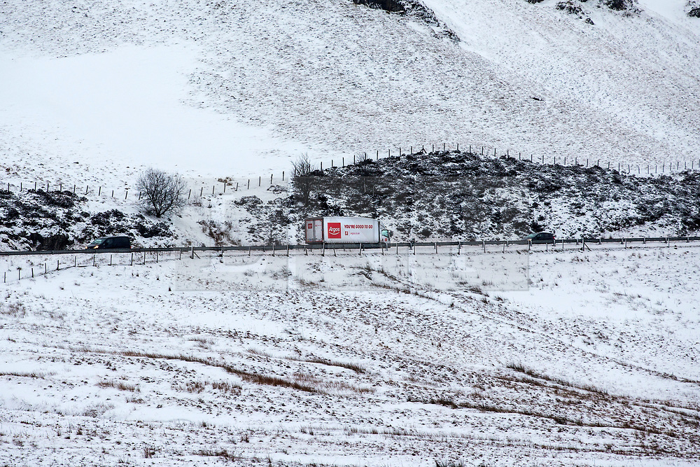 © Licensed to London News Pictures. 13/02/2020. Shap UK. A lorry makes its way along the A6 near Shap in Cumbria this morning as the UK braces for more bad weather over the weekend. Photo credit: Andrew McCaren/LNP