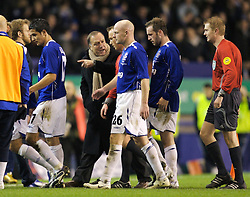 Liverpool, England - Wednesday, December 5, 2007: Zenit St. Petersburg's manager Dick Advocaat argues with referee Kristinn Jakobsson at half-time during the UEFA Cup Group A match against Everton at Goodison Park. (Photo by David Rawcliffe/Propaganda)