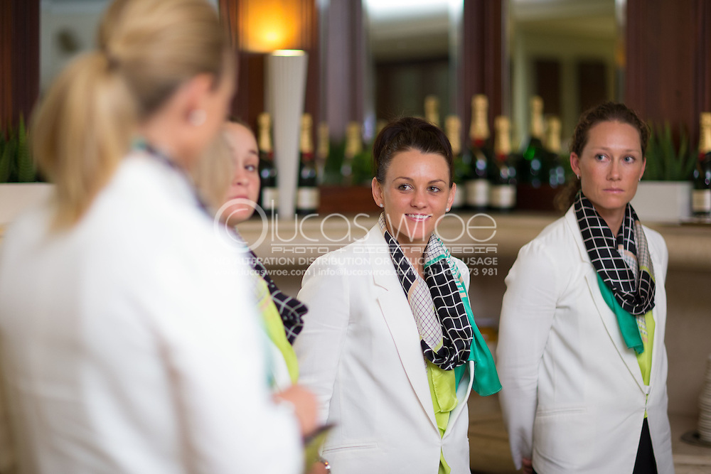 Casey Dellacqua (AUS) and Samantha Stosur (AUS), April 17, 2014 - TENNIS : Federation Cup, Semi-Final, Australia v Germany, Official Dinner, Stamford Plaza Hotel, Brisbane, Victoria, Australia. Credit: Lucas Wroe