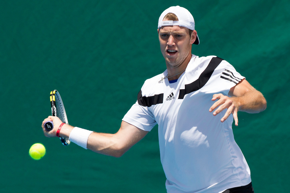 USA's Jack Sock in his quarterfinal singles match against  Spain's Roberto Bautista Agut at the Heineken Open Men's Tennis Tournament, Auckland, New Zealand, Thursday, January 09, 2014.  Credit:SNPA / David Rowland