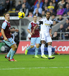Swansea City's Wayne Routledge lifts the ball in to the box - Photo mandatory by-line: Joe Meredith/JMP - Tel: Mobile: 07966 386802 27/10/2013 - SPORT - FOOTBALL - Liberty Stadium - Swansea - Swansea City v West Ham United - Barclays Premier League