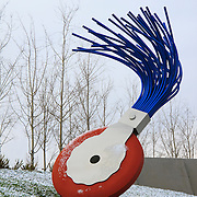 Typewriter Eraser, Scale X, stainless steel and fiberglass sculpture by Claes Oldenburg and Coosje van Bruggen, created 1998-1999, Olympic Sculpture Park, Seattle Art Museum, Seattle, Washington
