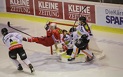 18.12.2015, Stadthalle, Klagenfurt, AUT, EBEL, EC KAC vs Dornbirner Eishockey Club, 32. Runde, im Bild Nick Crawford (Dornbirner Eishockey Club, #4), Robert Lembacher (Dornbirner Eishockey Club, #81), Florian Hardy (Dornbirner Eishockey Club, #49), Patrick Harand (EC KAC, 16) // during the Erste Bank Eishockey League 32nd round match match betweeen EC KAC and Dornbirner Eishockey Club at the City Hall in Klagenfurt, Austria on 2015/12/18. EXPA Pictures © 2015, PhotoCredit: EXPA/ Gert Steinthaler