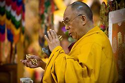 INDIA - Dalai Lama <br /> Dalai Lama attends morning prayer ceremony in Dharamsala, India, May 26, 2009.