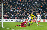 FOOTBALL: Stanislav Dostál (FC Zlin) saves in front of Kasper Kusk (FC København) during the UEFA Europa League Group F match between FC København and FC Zlin at Parken Stadium, Copenhagen, Denmark on November 2, 2017. Photo: Claus Birch