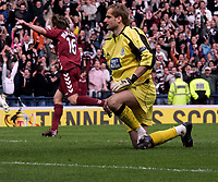 Zbigniew Malkowski after failing to save the penalty. Photo: Tom Ross.<br />