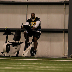 21 May 2009: Saints defensive tackle Rod Coleman (72) rides a stationary bike during the New Orleans Saints Organized Team Activities (OTA's) held at the team's indoor practice facility in Metairie, Louisiana.