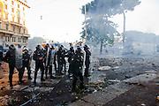 ROMA. FORZE DELL'ORDONE SCHIERATE IN ASSETTO ANTI SOMMOSSA IN PIAZZA SAN GIOVANNI;