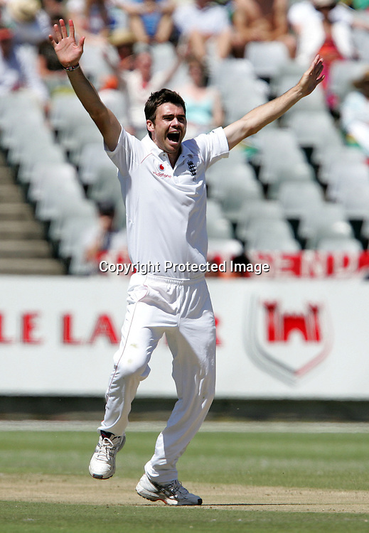 Jimmy Anderson appeals successfully for the wicket of Friedel de Wet to end South Africa's fist innings during the 2nd day of the third test match between South Africa and England held at Newlands Cricket Ground in Cape Town on the 4th January 2010.Photo by: Ron Gaunt/ SPORTZPICS