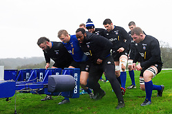 Bath Rugby forwards in action at the scrum machine - Mandatory byline: Patrick Khachfe/JMP - 07966 386802 - 16/01/2020 - RUGBY UNION - Farleigh House - Bath, England - Bath Rugby Training Session