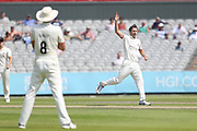 Graham Onions celebrate a wicket for Lancs during the Specsavers County Champ Div 1 match between Lancashire County Cricket Club and Essex County Cricket Club at the Emirates, Old Trafford, Manchester, United Kingdom on 9 June 2018. Picture by George Franks.