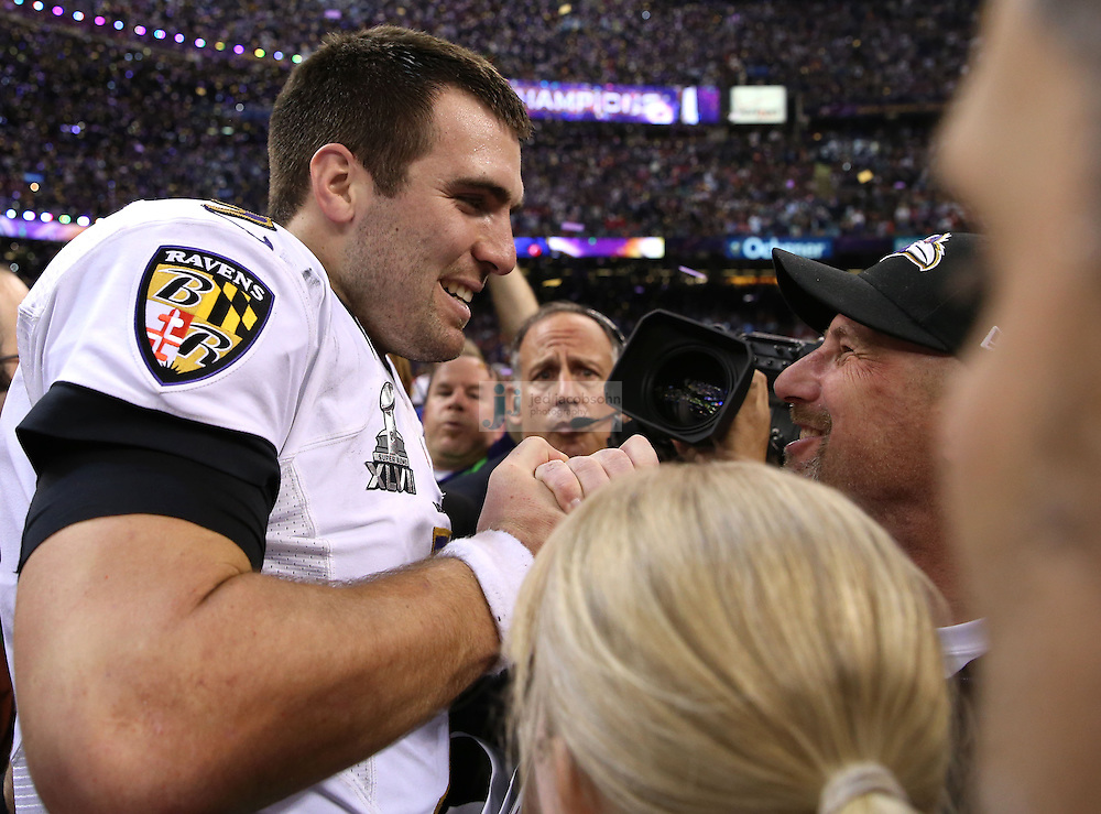 Joe Flacco (5) of the Baltimore Ravens celebrates after defeating the San Francisco 49ers during the NFL Super Bowl XLVII football game in New Orleans on Feb. 3, 2013. The Ravens won the game, 34-31.  (Photo by Jed Jacobsohn)