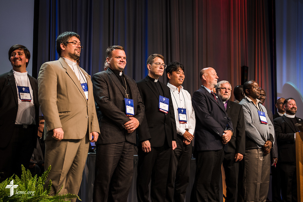 International church partners are introduced to the delegates on Monday, July 11, 2016, at the 66th Regular Convention of The Lutheran Church–Missouri Synod, in Milwaukee. LCMS/Frank Kohn