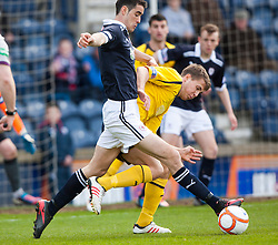 Raith Rovers Greig Spence and Falkirk's Will Vaulks..Raith Rovers 0 v 0 Falkirk, 27/4/2013..© Michael Schofield.