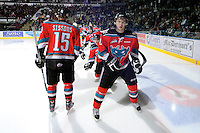 KELOWNA, CANADA, OCTOBER 20: Colten Martin #8 of the Kelowna Rockets takes part in a pre-game ritual as  the Vancouver Giants visited the Kelowna Rockets on October 20, 2011 at Prospera Place in Kelowna, British Columbia, Canada (Photo by Marissa Baecker/shootthebreeze.ca) *** Local Caption *** Colten Martin;
