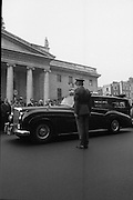 State Funeral Of Mrs Thomas Clarke..1972..08.10.1972..10.08.1972..8th October 1972..Today the state funeral of Mrs Kathleen Clarke took place at the Pro Cathedral,Dublin. Mrs Clarke was the wife of the late Thomas Clarke who was executed in Kilmainham Jail in 1916. Thomas Clarke was a signatory of the Irish Proclamation of 1916...Image taken as the cortege stops at the General Post Office (GPO) in memory of Mrs Clarke's husband Thomas. he was one of the leaders of the 1916 rising. Along with many volunteers Thomas Clarke held out against the British army here over the Easter period.