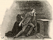 The Adventure of the Yellow Face'. Jack Grant Munro rejecting his wife because she will not disclose the secret behind her suspicious behaviour.  From 'The Adventures of Sherlock Holmes' by Conan Doyle from 'The Strand Magazine' (London, 1893). Illustration by Sidney E Paget, the first artist to draw Sherlock Holmes.  Engraving.
