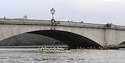 Putney, GREAT BRITAIN,    Left Bull and Bear line up for the start passing under Putney Bridge,  the 2008 Varsity/Oxford University [OUBC] Trial Eights, raced over the championship course. Putney to Mortlake, on the River Thames. Thurs. 11.08.2008 [Mandatory Credit, Peter Spurrier/Intersport-images]..Crews - .Bull, Bow. Colin KEOGH, 2. Douglas BRUCE, 3.Michal PLOTOWIAK, 4. David HOPPER, 5. Aaron MARCOVY, 6. Ben HARRISON, 7. Sjoerd HAMBURGER, Stroke Colin SMITH and Cox Philip CLAUSEN-THUE...Bear, Bow. Tim FARQUHARSON, 2. Ben ROSENBERGER, 3. Mike VALLI. 4. Alex HEARNE, 6 Tom SOLESBURY, 7 George BRIDGEWATER, Stroke, Ante KUSURI and Cox Adam BARHAMAND. Varsity Boat Race, Rowing Course: River Thames, Championship course, Putney to Mortlake 4.25 Miles,