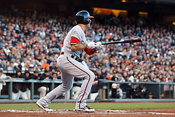 SAN FRANCISCO, CA - JULY 28: Danny Espinosa #8 of the Washington Nationals hits an RBI single against the San Francisco Giants during the second inning at AT&T Park on July 28, 2016 in San Francisco, California.  (Photo by Jason O. Watson/Getty Images) *** Local Caption *** Danny Espinosa