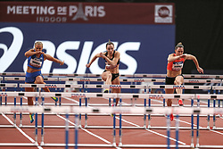 February 7, 2018 - Paris, Ile-de-France, France - From left to right : Lotta Harala of Finland, Luca Kozak of Hungary, Eline Berings of Belgium compete in 60m Hurdles during the Athletics Indoor Meeting of Paris 2018, at AccorHotels Arena (Bercy) in Paris, France on February 7, 2018. (Credit Image: © Michel Stoupak/NurPhoto via ZUMA Press)
