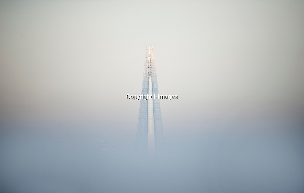 The Shard in London standing out over the freezing morning fog, London, UK, December 12, 2012. Photo by i-Images.