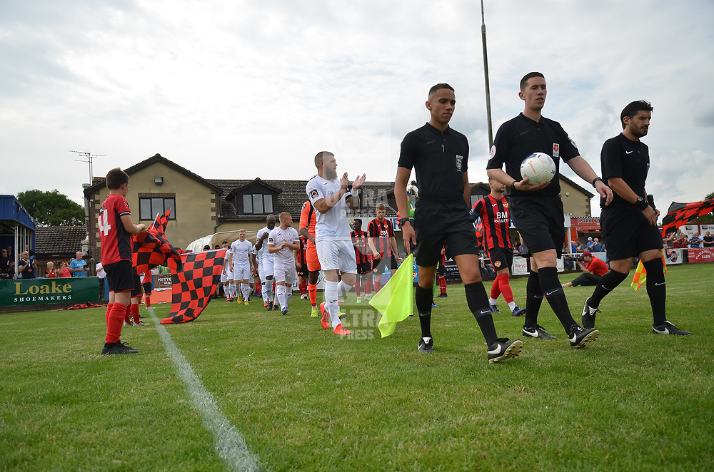 TELFORD COPYRIGHT MIKE SHERIDAN AFC Telford take to the field for the first game of the season during the National League North fixture between Kettering Town and AFC Telford United at Latimer Park on Saturday, August 3, 2019<br /> <br /> Picture credit: Mike Sheridan<br /> <br /> MS201920-005
