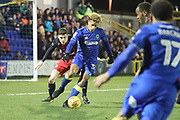 AFC Wimbledon striker Lyle Taylor (33) dribbling in the box during the EFL Sky Bet League 1 match between AFC Wimbledon and Blackburn Rovers at the Cherry Red Records Stadium, Kingston, England on 27 February 2018. Picture by Matthew Redman.
