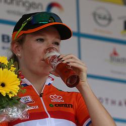 20-07-2015: Wielrennen: Thueringen Rundfahrt: Zeulenrodaer Meer  <br /> De vrouwen kregen in de etppe drie keer de Dortendorferberg voorgeschoteld. <br /> Amy Pieters wordt derde in de etappe achter de Finse Lapisto en de Zweedse Johansson
