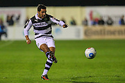 Forest Green Rovers Fabien Robert(26) crosses the ball during the Vanarama National League match between Solihull Moors and Forest Green Rovers at the Automated Technology Group Stadium, Solihull, United Kingdom on 25 October 2016. Photo by Shane Healey.