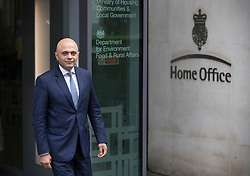 © Licensed to London News Pictures. 30/04/2018. London, UK. New Home Secretary Sajid Javid poses for photographs outside the Home Office. Amber Rudd resigned late last night. Photo credit: Peter Macdiarmid/LNP