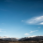 A view of the snow-capped Rocky Mountains near Wildernest, Colorado, not far from Denver.