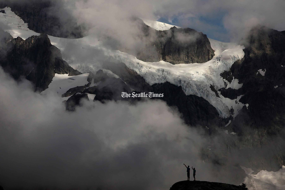 Visitors at Artist Point at the end of the Mount Baker Highway.  The area offers 360-degree views of Mount Baker and Mount Shuksan. <br />