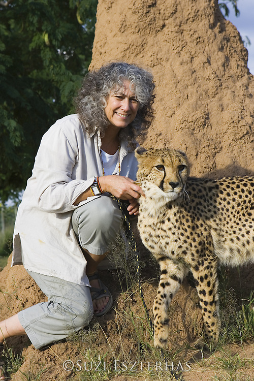 Dr. Laurie Marker and Kanini (an orphan female cheetah being raised by Dr. Marker and used as an educational ambassador)<br /> Cheetah Conservation Fund, Namibia<br /> *captive