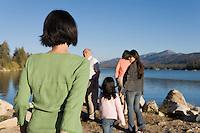 Family Walking at Lake