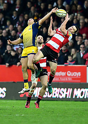 Dean Hammond of Worcester Warriors jumps for the high ball with Tom Marshall of Gloucester Rugby  - Mandatory by-line: Joe Meredith/JMP - 07/01/2017 - RUGBY - Kingsholm - Gloucester, England - Gloucester Rugby v Worcester Warriors - Aviva Premiership