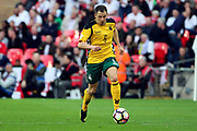 Mindaugas Grigaravicius of Lithuania dribbling during the FIFA World Cup Qualifier group stage match between England and Lithuania at Wembley Stadium, London, England on 26 March 2017. Photo by Matthew Redman.