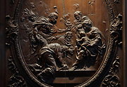 Adoration of the Magi, detail, bas-relief in a medallion on the sculpted wooden choir stalls, of which 78 of 114 remain, 52 upper and 26 lower stalls, carved by Jean Noel and Louis Marteau after drawings by Rene Charpentier and Jean Dugoulon, early 18th century, in the choir of the Cathedrale Notre-Dame de Paris, or Notre-Dame cathedral, built 1163-1345 in French Gothic style, on the Ile de la Cite in the 4th arrondissement of Paris, France. The high backs of the stalls are decorated with bas-reliefs and separated by trumeaux decorated with foliage and instruments of the Passion. Photographed on 17th December 2018 by Manuel Cohen