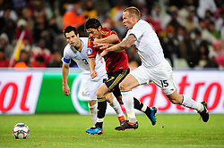 Davisd Villa and Jay Demerit  during the Semi Final soccer match of the 2009 Confederations Cup between Spain and the USA played at the Freestate Stadium,Bloemfontein,South Africa on 24 June 2009.  Photo: Gerhard Steenkamp/Superimage Media.