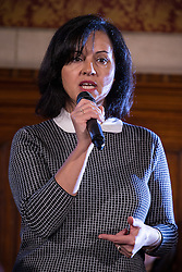 © Licensed to London News Pictures . 29/11/2013 . Manchester , UK . Shadow Energy Minister CAROLINE FLINT MP addresses the audience . The leader of the Labour Party , Ed Miliband , addresses an audience at Manchester Town Hall today (Friday 29th November 2013) . The British opposition leader is launching a green paper on energy. Photo credit : Joel Goodman/LNP