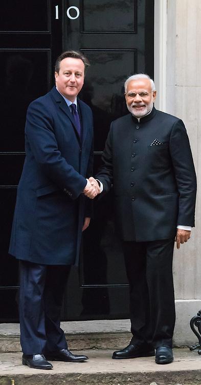 Downing Street, London, November 12th 2015. British Prime Minister David Cameron welcomes his Indian counterpart Narendra Modi to 10 Downing Street.