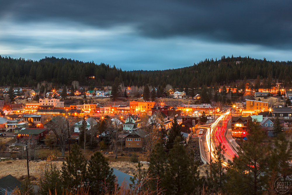 """Downtown Truckee 23"" - Long exposure photograph of Historic Downtown Truckee, California. Shot at dusk from near the Cottonwood Restaurant."