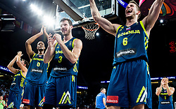 Anthony Randolph of Slovenia, Goran Dragic of Slovenia, Aleksej Nikolic of Slovenia celebrate after winning during basketball match between National Teams of Slovenia and Spain at Day 15 in Semifinal of the FIBA EuroBasket 2017 at Sinan Erdem Dome in Istanbul, Turkey on September 14, 2017. Photo by Vid Ponikvar / Sportida